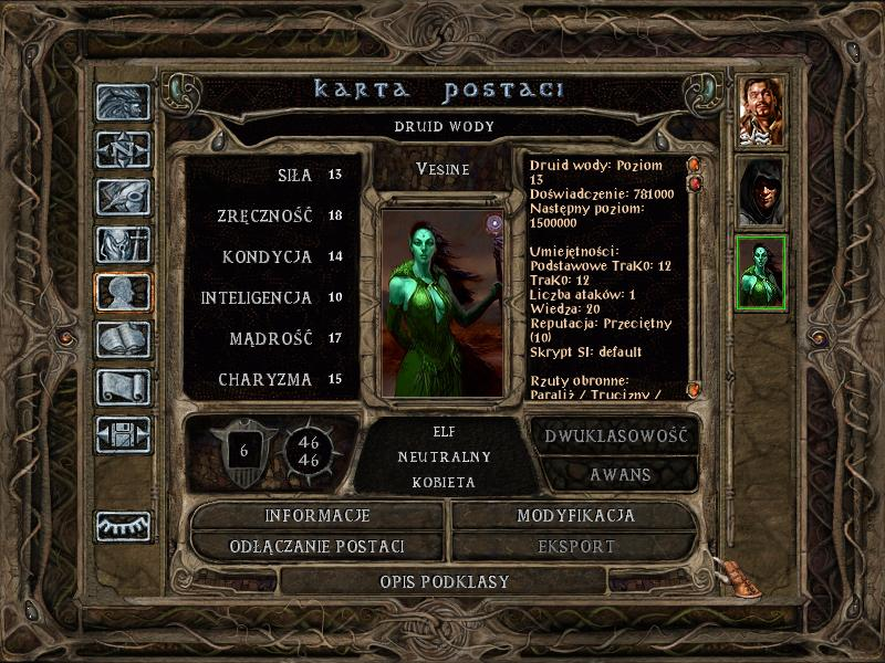 Baldur's Gate II The Darkest Day - karta postaci