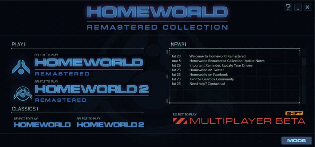 homeworld remastered collection - menu