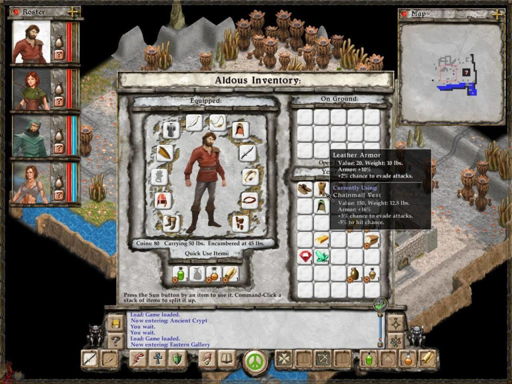 avernum escape from the pit - inwentarz